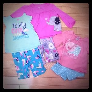 Set of 3 - Carter's Girls Animal Pajamas - 12M